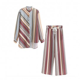 Stripe Motif Top and Pants Set