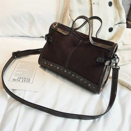 Studded Crossbody Satchel Bag