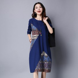 MIRA Patchwork Dress (Blue)