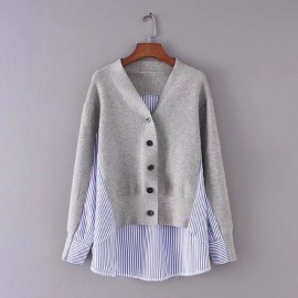 Stripe Combination Cardigan