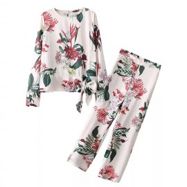 Floral Motif Top and Pants Set