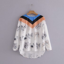 Cat Motif  Blouse