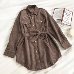 Corduroy Shirt with Sash