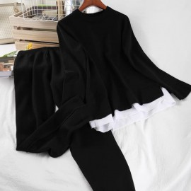 Combination Knit Top and Pants Set