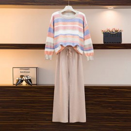 Stripe Knit Pullover and Pants Set