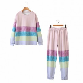 Pastel Motif Pullover and Pants Set