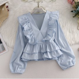 Frill V-Neck Top