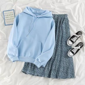 Hooded Pullover and Skirt Set