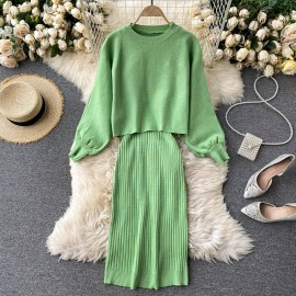 Knit Top and Inner Dress Set