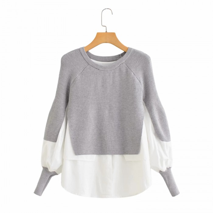 Combination Knit Pullover