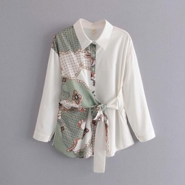 Motif Print Shirt with Sash