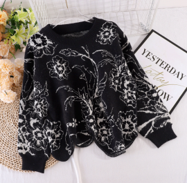 Flower Motif Knit Sweater