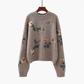 Floral Knit Pullover