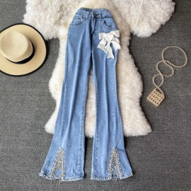 Denim Pants with Ribbon