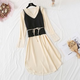 Dress with Knit Vest
