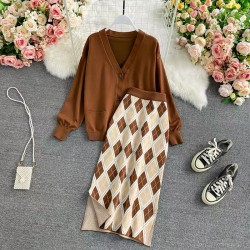 Knit Cardigan and Motif Skirt Set