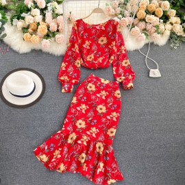 Floral Motif Blouse and Skirt Set