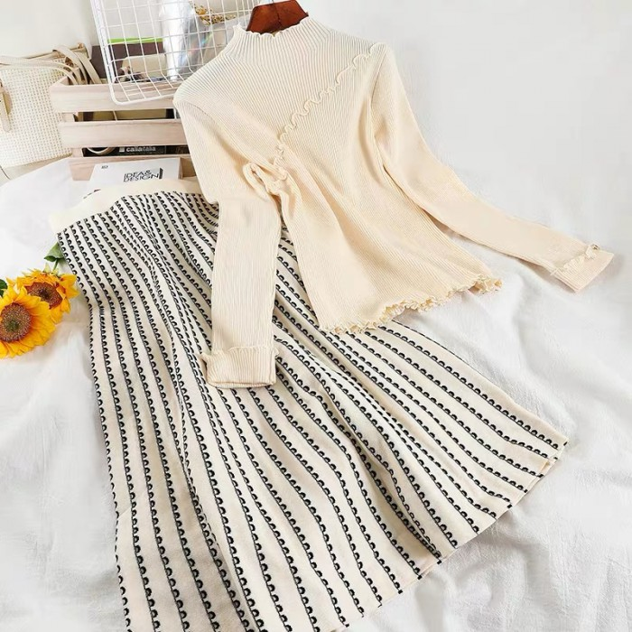 Mockneck Knit Top and Skirt Set