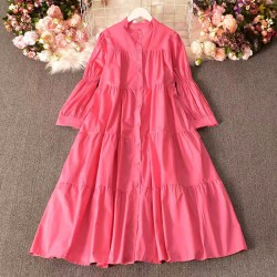Candy Color Dress with Puff Sleeves