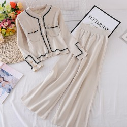 Contrast Hem Top and Pants Set