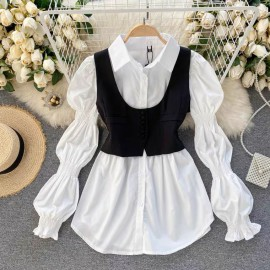 Bubble Sleeve Shirt with Vest