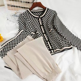 Checkered Knit Cardigan and Pants Set