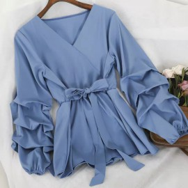 Blouse with Ruched Sleeves