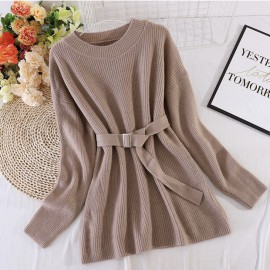 Long Knit Pullover with Sash