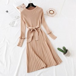 Knit Dress with Pleats