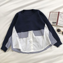 Knit Combination Blouse