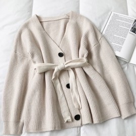 Knit  Button Cardigan with Sash