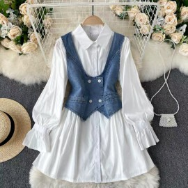 Tunic with Denim Vest