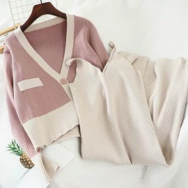 Knit Cardigan and Inner Dress Set