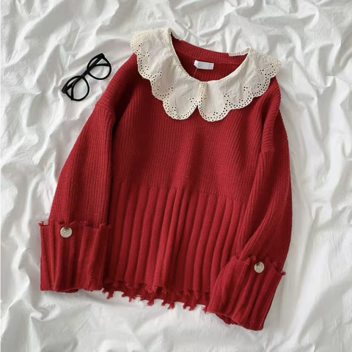 Scallop Color Knit Pullover