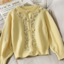 Floral Embroidered Knit Cardigan