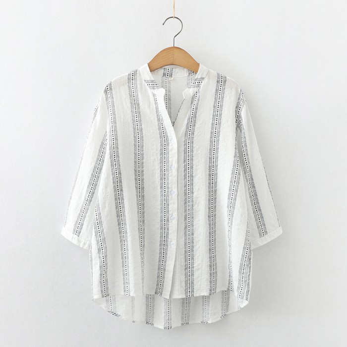 Stripe Motif Blouse