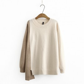 LM+ Contrast Color Knit Pullover