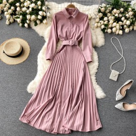 Pleated Button Dress