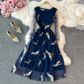 Bird Embroidered Dress