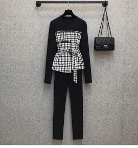 LM+  Checkered Top and Pants Set