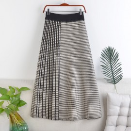 Checkered Knit Skirt