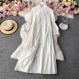 Long Puff Sleeves Dress