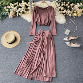 Top and Pleated Skirt Set