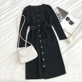 Knit Dress with Sash
