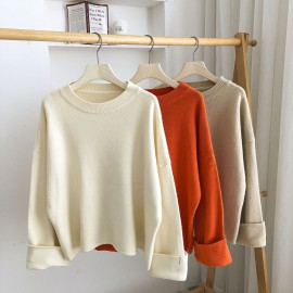 Knit Pullover with Cuff Sleeves (White)