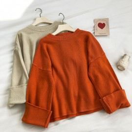 Knit Pullover with Cuff Sleeves (Orange)