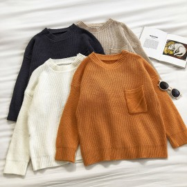 Knit Pullover with Pocket Detail (White)