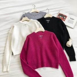 Ribbon Applique Knit Pullover (Pink)