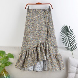 Floral Asymmetrical Skirt