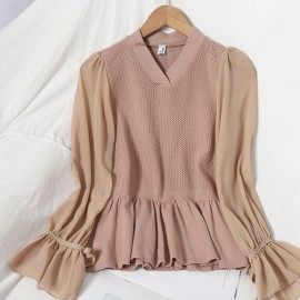 Knit Top with Sheer Sleeves
